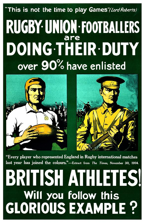 Great Britain Photograph - Recruiting Poster - Britain - Rugby by Benjamin Yeager