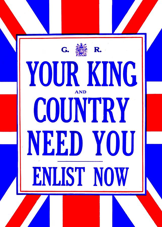 Great Britain Photograph - Recruiting Poster - Britain - King And Country by Benjamin Yeager