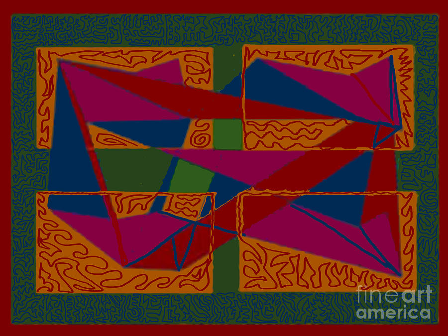 Rectangles Digital Art - Rectangles Triangles by Meenal C