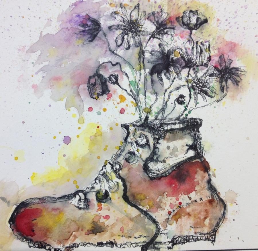 Flower Painting - Recycle Shoes by Isaac Alcantar
