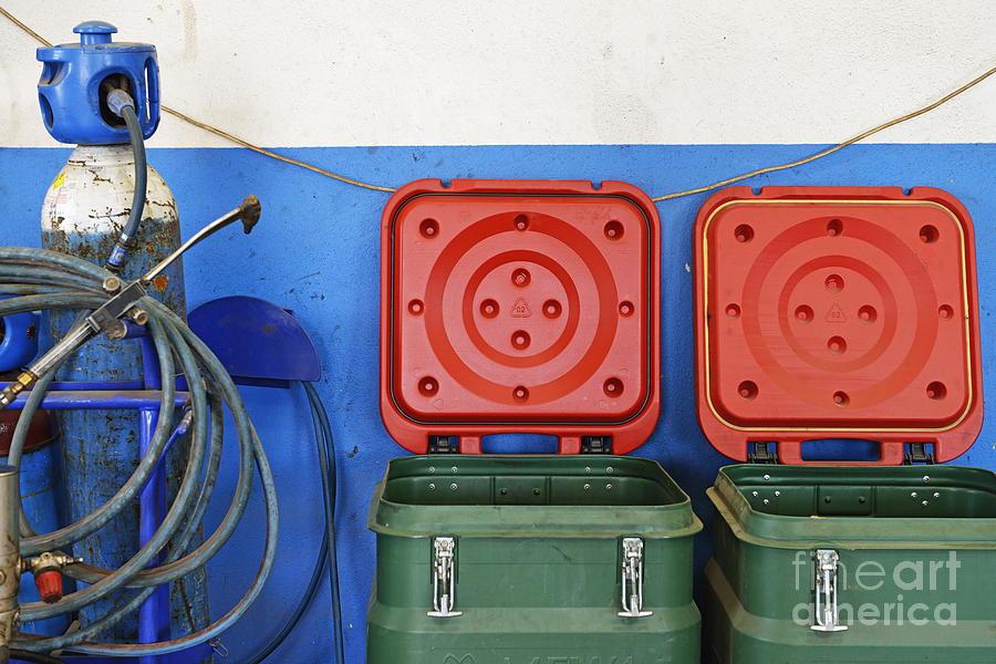 Garbage Bin Photograph - Recycling Bins And Gas Bottles by Sami Sarkis