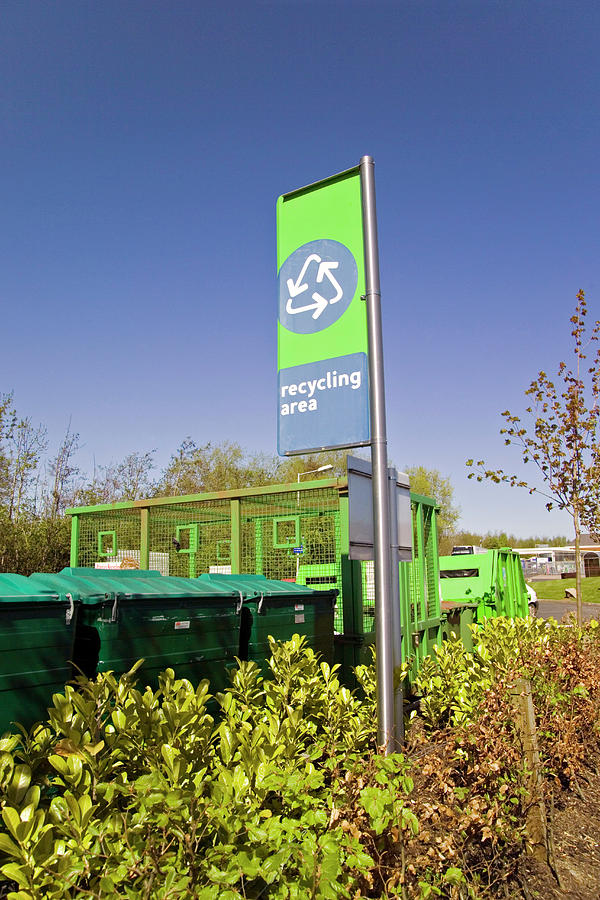 Symbol Photograph - Recycling Collection Point by Simon Fraser/science Photo Library