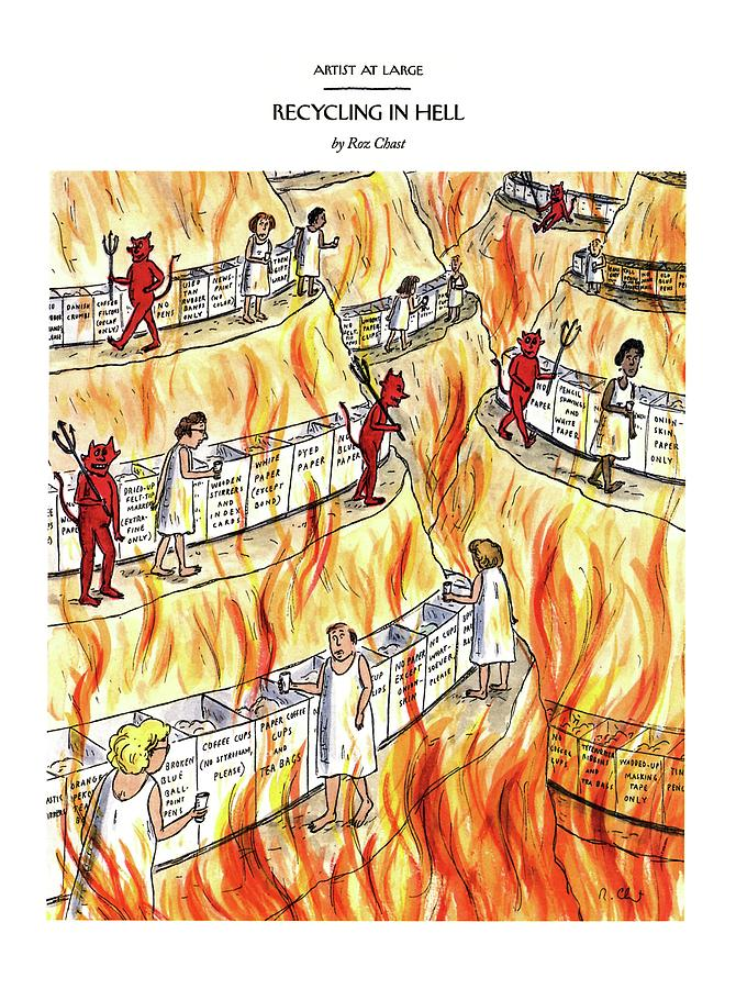 Recycling In Hell Unbent Paper Clips Drawing by Roz Chast
