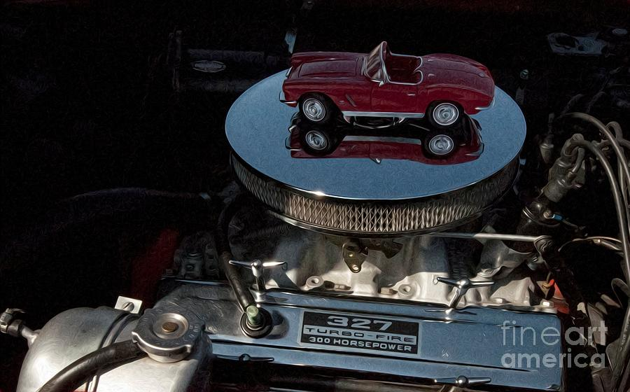 Transportation Photograph - Red 1962 Chevrolet Corvette - Engine 327 - 300 by Liane Wright