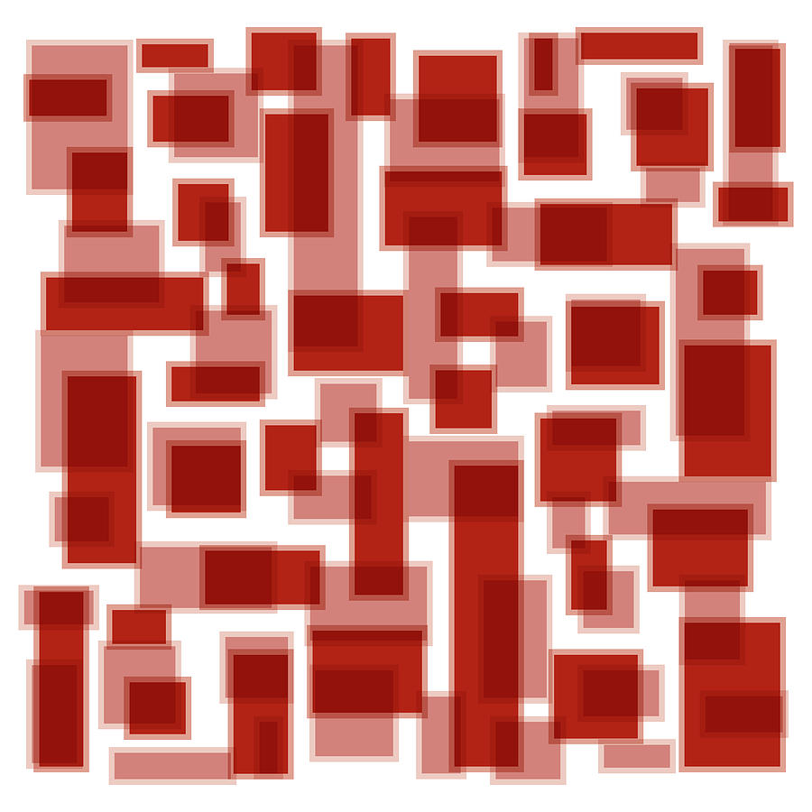 Red Painting - Red Abstract Patches by Frank Tschakert