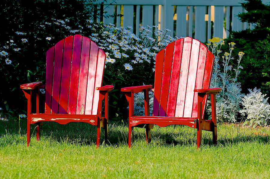Red Adirondack Chairs On Green Lawn Photograph By Berkehaus Photography