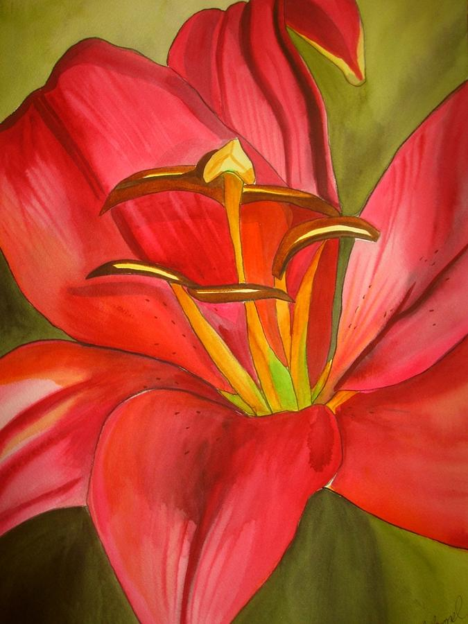 Lily Painting - Red Alert Lily by Sacha Grossel