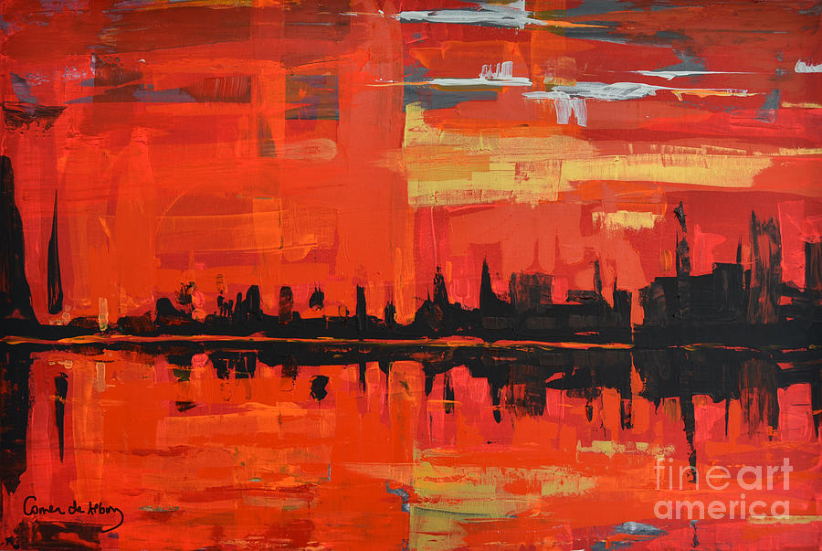 Red Painting - Red Amazon Sunset by Paola Correa de Albury