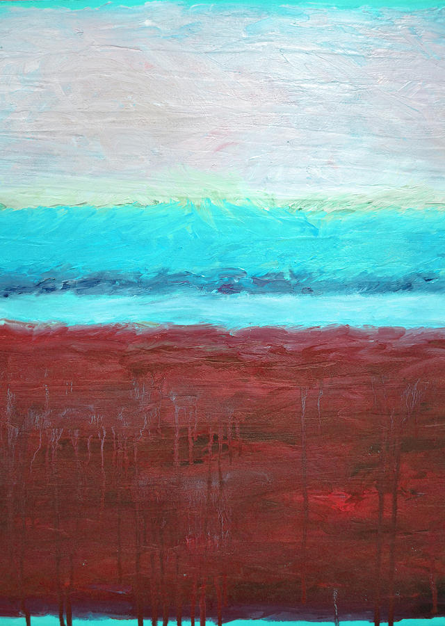 Abstract Painting - Red And Aqua Get Married by Michelle Calkins