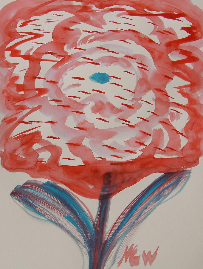 Bloom Painting - Red And Baby Blue by Mary Carol Williams