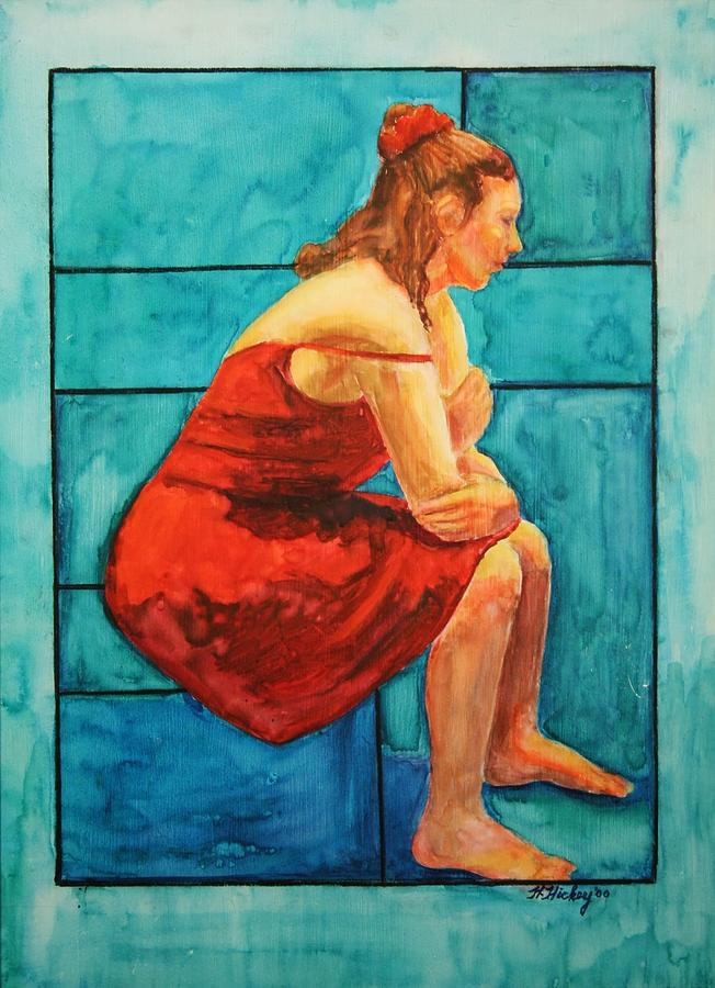 Red and Blue Painting by Helen Hickey