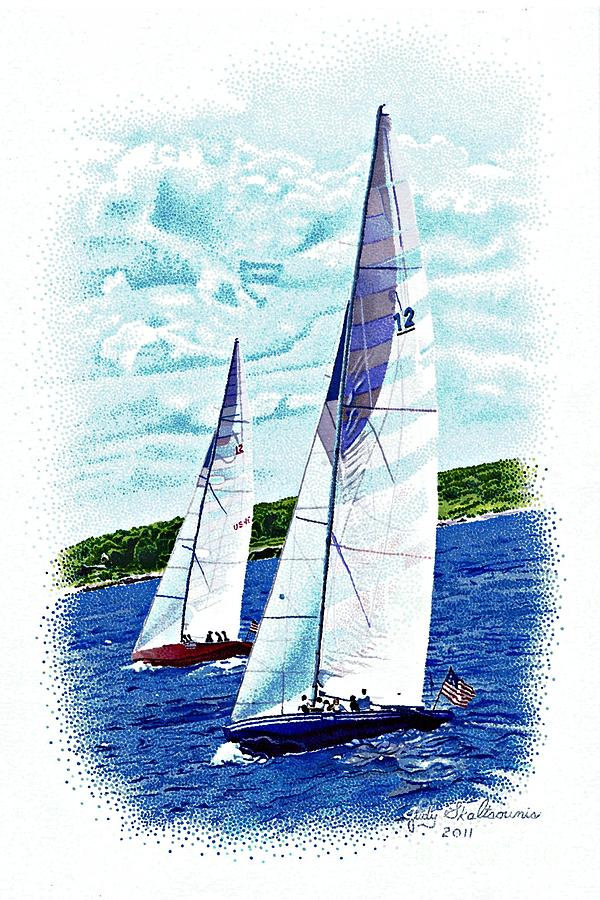 Landscape Drawing - Red And Blue Sailboats by Judy Skaltsounis