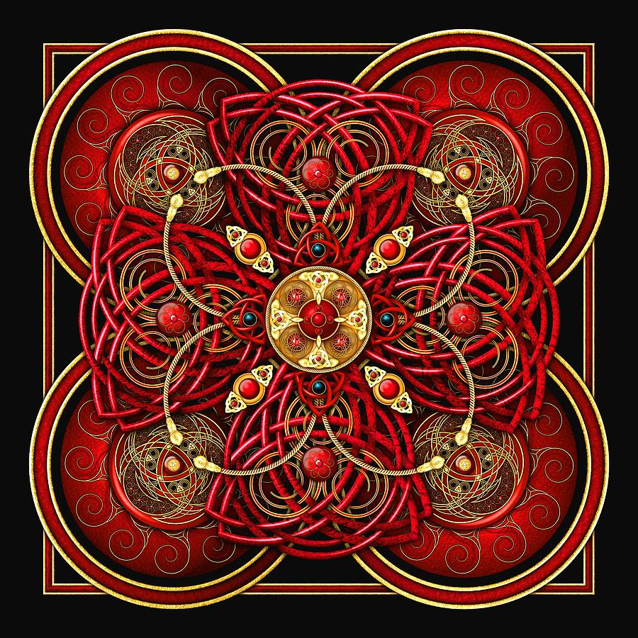 Celtic Photograph - Red And Gold Celtic Cross by Richard Barnes