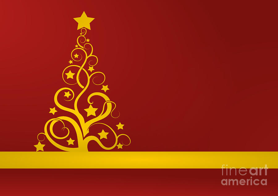 Red And Gold Christmas Card Digital Art