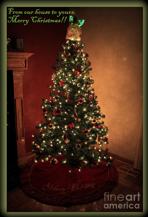 Red and gold christmas tree with caption photograph by for Green and gold christmas tree