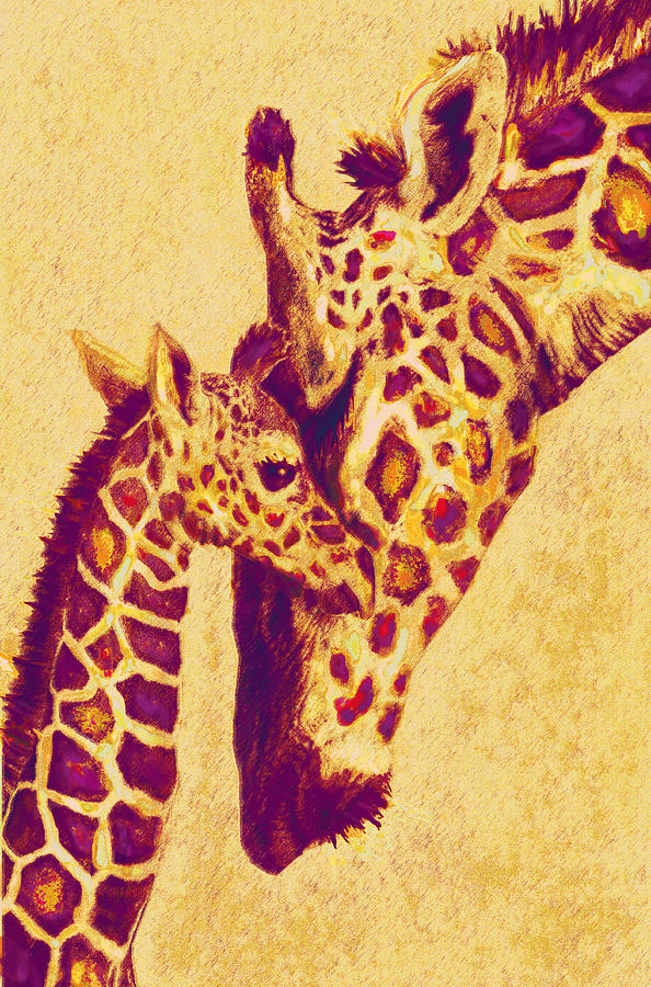 Jane Schnetlage Digital Art - Red And Gold Giraffes by Jane Schnetlage