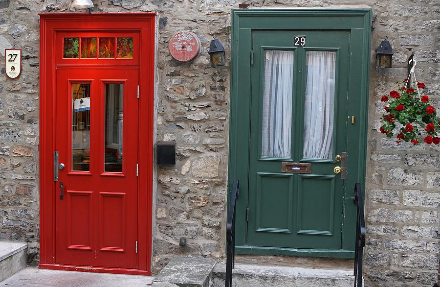 Red Photograph - Red And Green Doors Of Quebec by Juergen Roth