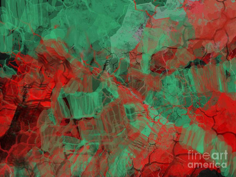 Abstract Digital Art - Red And Green by Igor Schortz