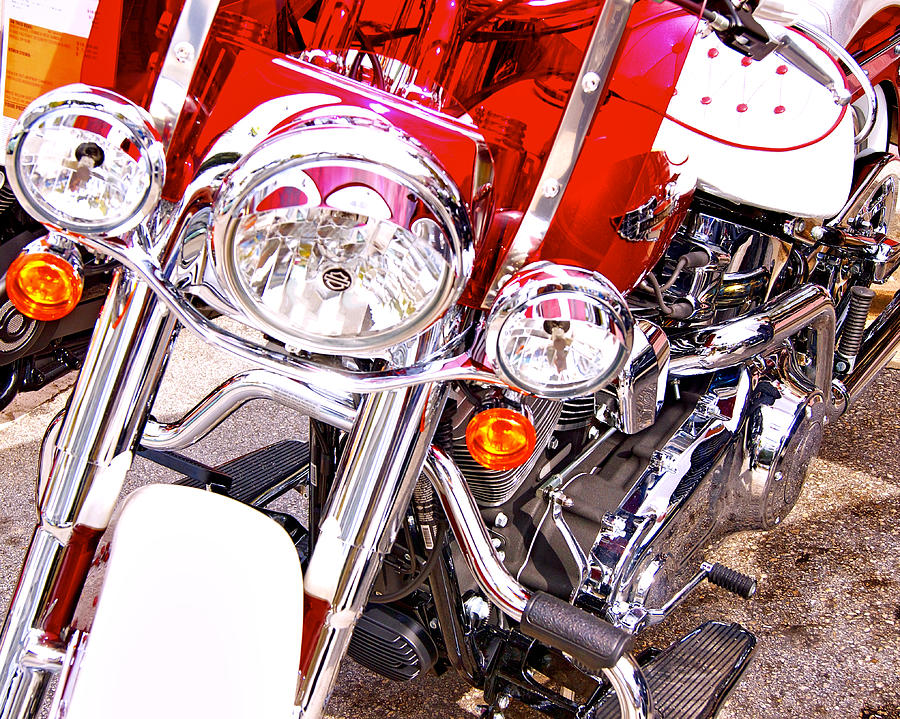 Harley Davidson Photograph - Red And White by Dieter  Lesche