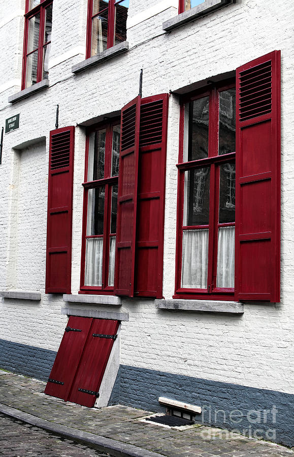 Red And White In Bruges Photograph - Red And White In Bruges by John Rizzuto