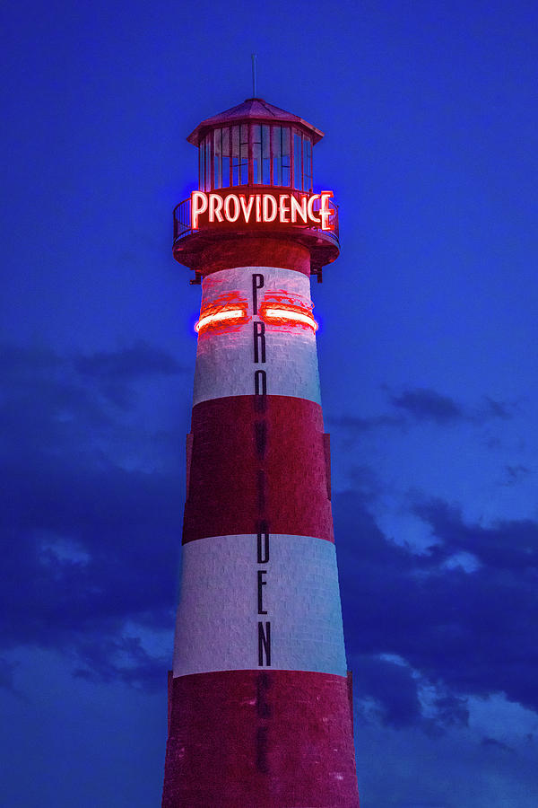 Vertical Photograph - Red And White Lighthouse Shows Neon by Panoramic Images