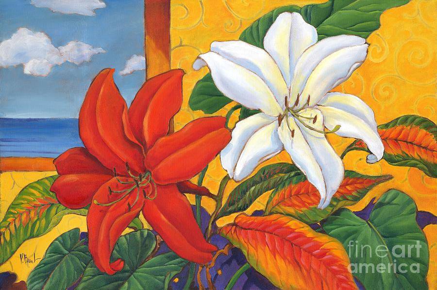 Lillie Painting - Red And White Lillies by Paul Brent