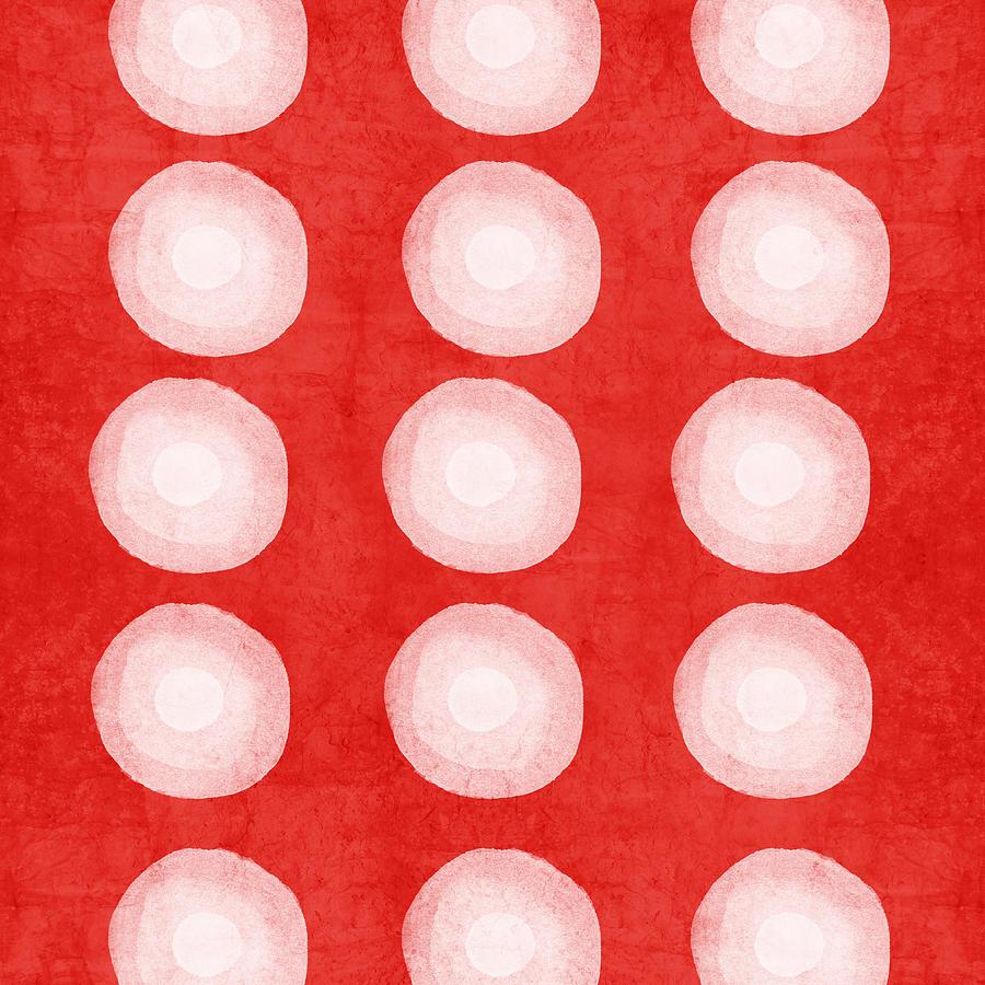 Red And White Shibori Circles Painting