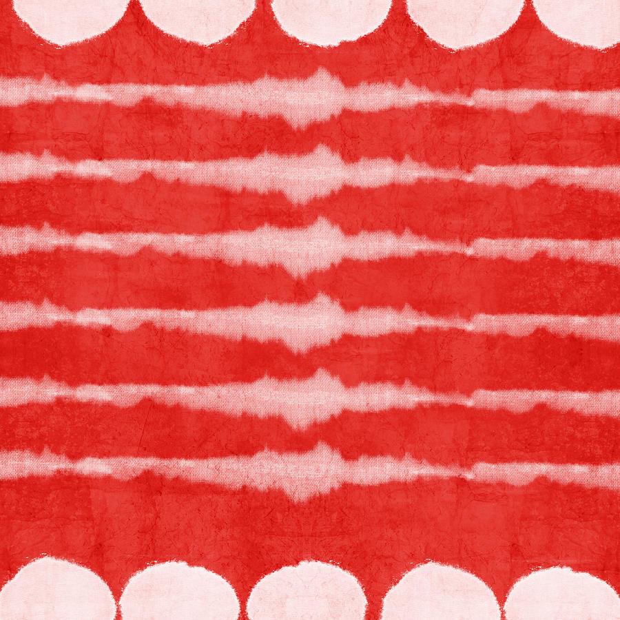 Red And White Shibori Design Painting