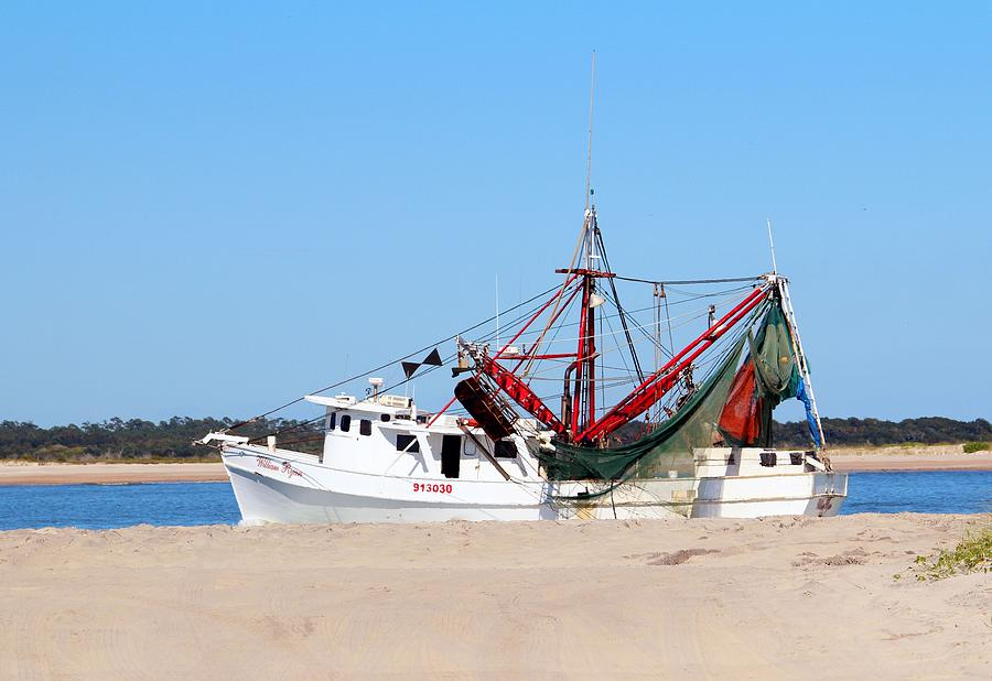 Red And White Shrimp Boat Photograph by Cynthia Guinn