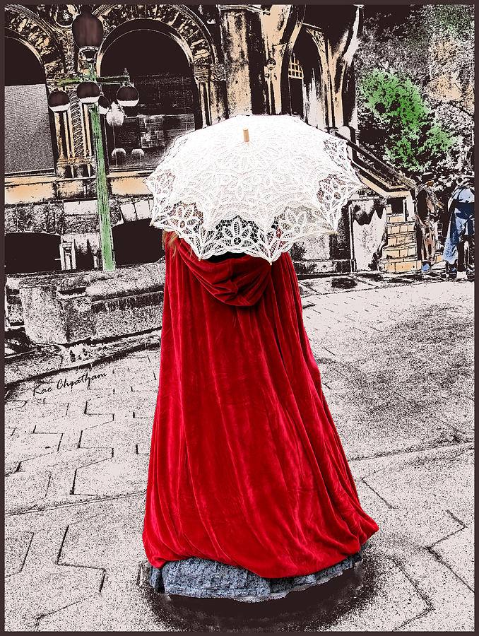 Red Cape Photograph - Red And White Walking by Kae Cheatham