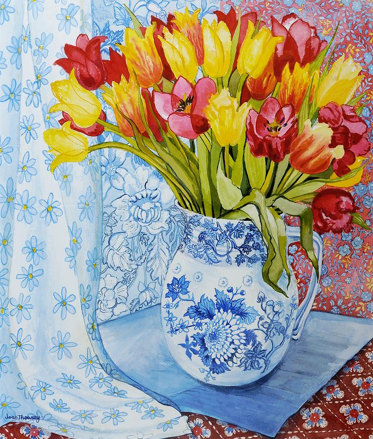 Still-life Painting - Red And Yellow Tulips In A Copeland Jug by Joan Thewsey