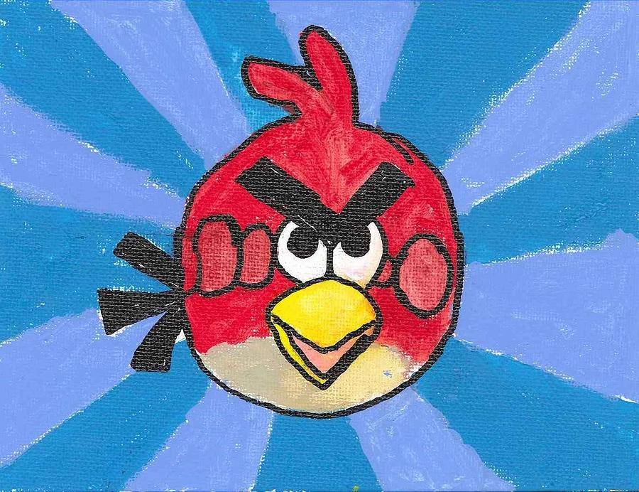 Angry Bird Painting - Red Angry Bird by Ethan Chaupiz
