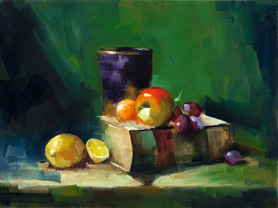 Still Life Painting - Red Apple Book And Purple by Pepe Romero