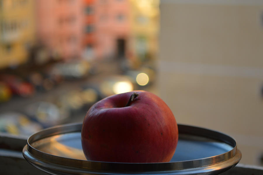 Antique Photograph - Red apple on a tray by Adrian Bud