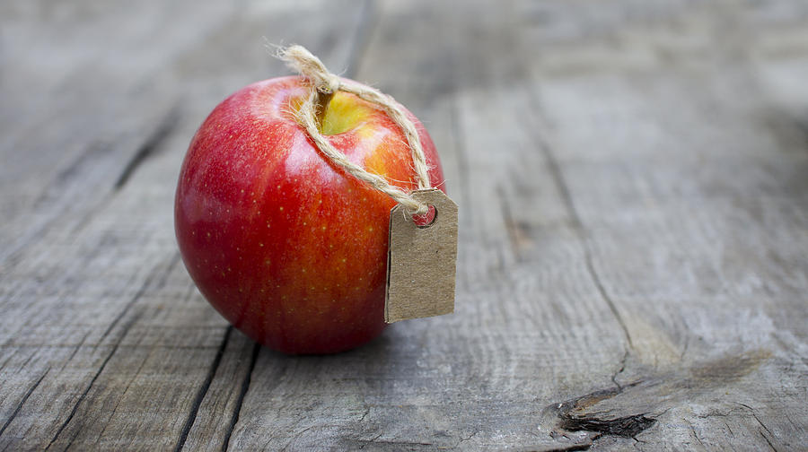 Apple Photograph - Red Apple With A Price Label by Aged Pixel