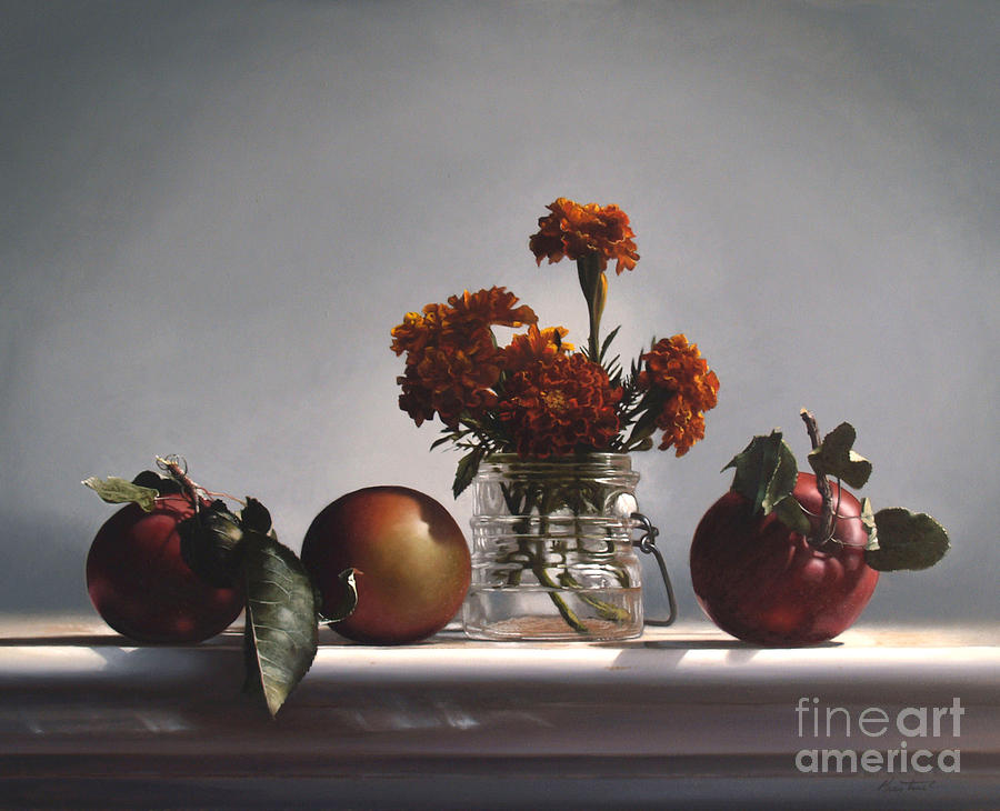 Apples Painting - Red Apples And Marigolds by Larry Preston