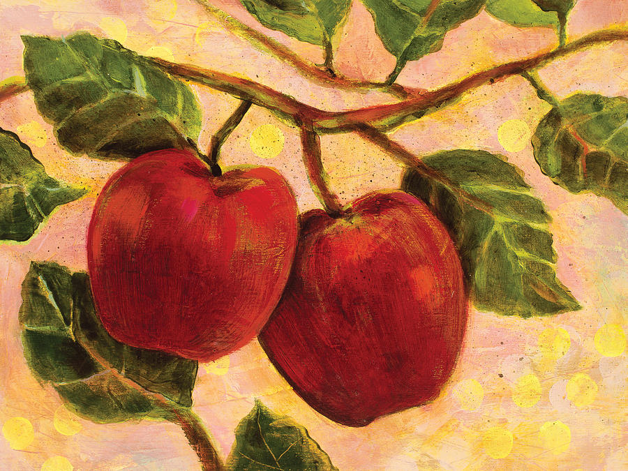 Jen Norton Painting - Red Apples On A Branch by Jen Norton