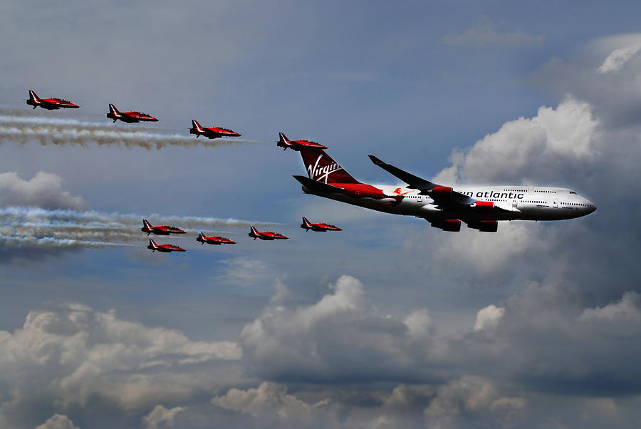Red Arrows Photograph - Red Arrows And Lady Penelope by Mark Rogan
