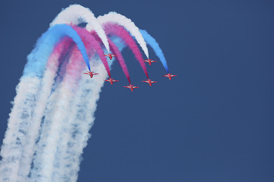 Airshow Photograph - Red Arrows by Jonathan Simons