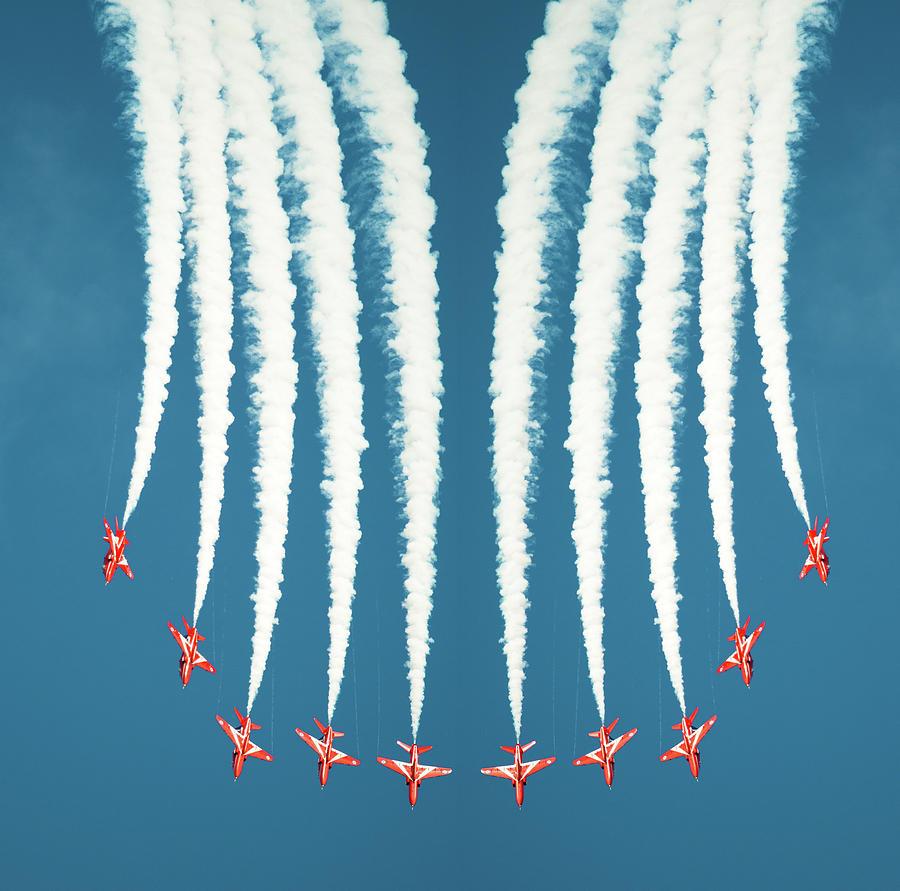 Red Arrows Symmetry Burst Photograph by Steve Fleming