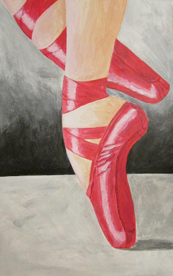 Red Ballet Shoes Painting by Katrina Parker Williams