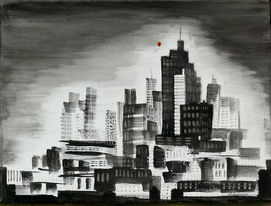Red Balloon escaping the City by Vic Delnore