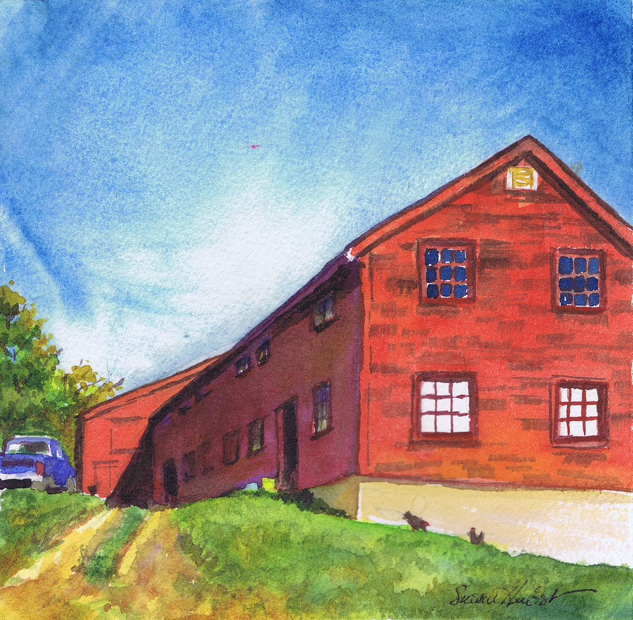 Red Painting - Red Barn Apple Farm New Hampshire by Susan Herbst