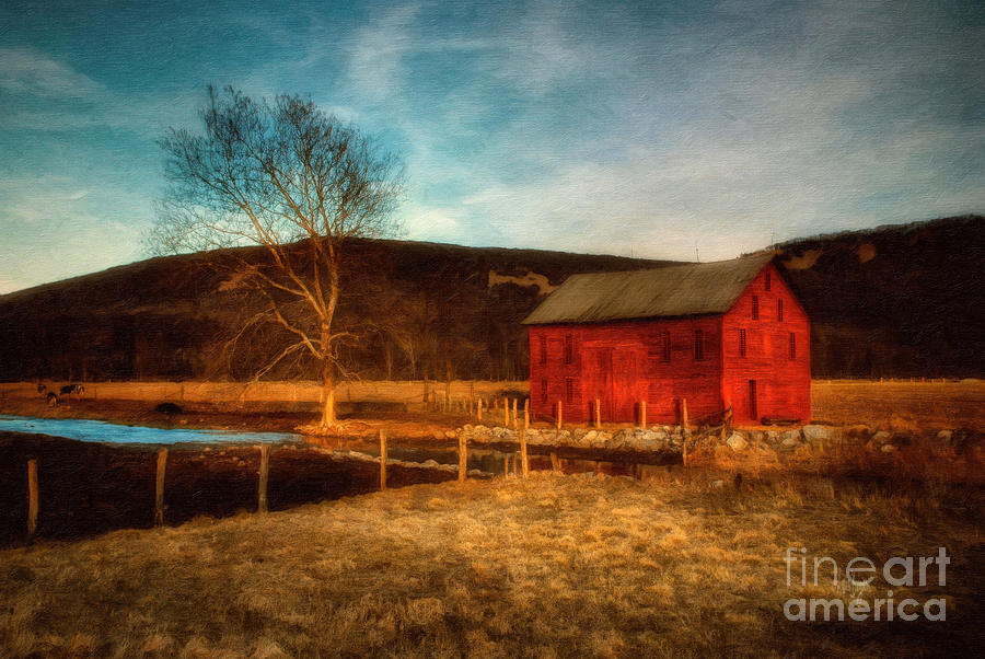 Barn Photograph - Red Barn At Twilight by Lois Bryan