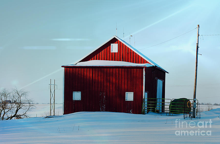 Snowy Photograph - Red Barn During Illinois Winter by Luther Fine Art