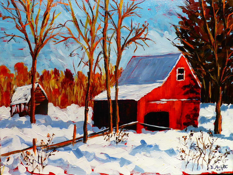 Red Painting - Red Barn First Snow by Diane Arlitt