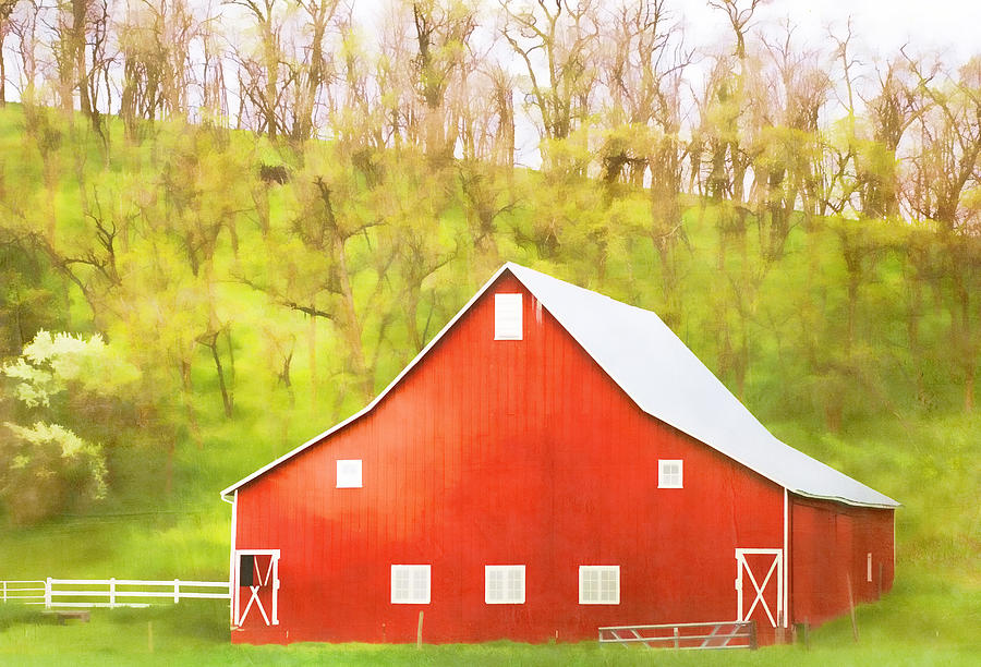 Red Photograph - Red Barn Green Hillside by Carol Leigh