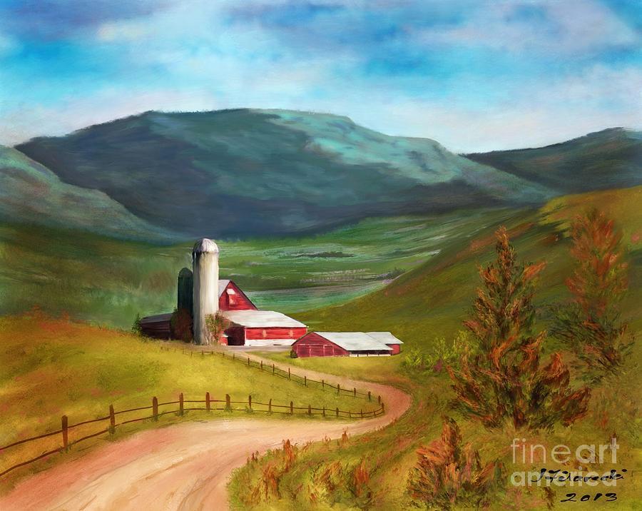 Red Barn Painting - Red Barn Hillside Farm by Judy Filarecki