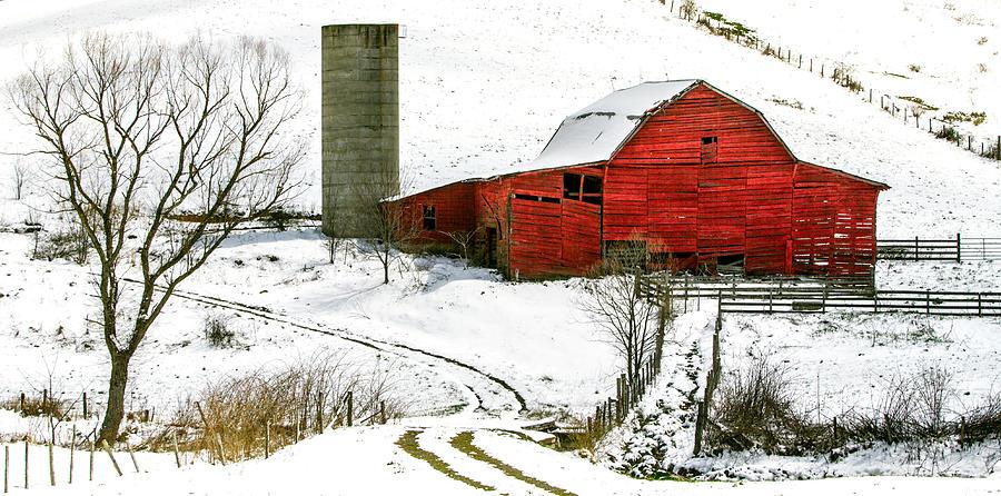 Snow Photograph - Red Barn In Snow by John Haldane