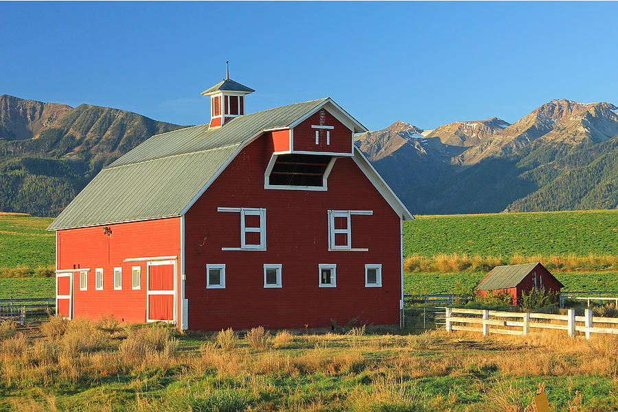 Fall Colors Photograph - Dn5939-red Barn In The Wallowas by Ed  Cooper Photography
